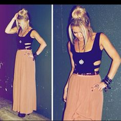 Love the idea of a black tank with a rose colored maxi skirt.