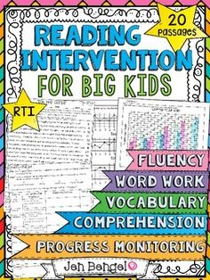 Reading Intervention Program for Big Kids! This resource includes daily intervention lessons for a month! It includes 20 fluency passages, targeted comprehension, word work, and vocabulary for each day. It also includes progress monitoring line graphs, Reading Tutoring, Reading Passages, Reading Strategies, Reading Skills, Teaching Reading, Reading Comprehension, Guided Reading, Free Reading, Teaching Ideas