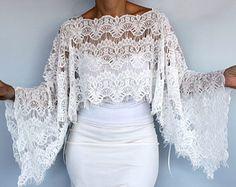 Floral Bridal Capelet in Retro Style  Bolero Shrug White