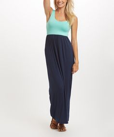 Another great find on #zulily! Navy Blue Mint Colorblock Maxi Dress #zulilyfinds