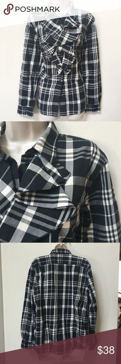 Ralph Lauren Plaid Ruffle Blouse Lovely black and white plaid is back in season with this gorgeous button down ruffle top. Made of 100% cotton. Never worn or washed. No trades. Generous 30% bundle discount. Ralph Lauren Tops Button Down Shirts