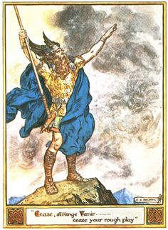 C.E Brock illustration for The Heroes of Asgard by A & E Keary depicting  Odin stepped forth calm and unruffled, spread his arms towards the...