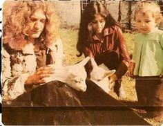 "Robert Plant with ex-wife Maureen and their son Karac (""All My love"" Led Zeppelin song written by a Robert Plant was about the death of their son of a stomach virus),<3"