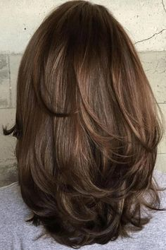 #brownhairbalayage Medium Layered Haircuts, Medium Hair Cuts, Medium Hair Styles, Curly Hair Styles, Haircut For Thick Hair, Thin Hair, Aesthetic Hair, Aesthetic Light, Balayage Hair