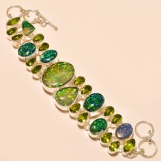 AUSTRALIAN TRIPLET OPAL WITH FACETED PERIDOT GORGEOUS - 925 SILVER BRACELET  #Handmade