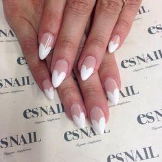Heart French #nail #esnail #melrose #japanese #la #gelnail #salon #beverlyhills #japanesenail  #design #japanesedesign #heart #french #white