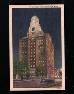 C 1940 The Clinic By Night Rochester Minnesota Post Card - Plummer Building