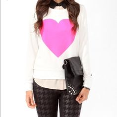 Neon Heart Sweater Ultra soft sweater with neon pink heart. Sweaters Crew & Scoop Necks