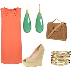 Love the coral with the turqoise and tan