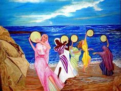 Miriam dancing with tambourines. (Painting),  50x40 cm by Socam - inspired by the biblical passage of the dance of Miriam at the crossing of Iam Suf.  Oil on Canvas