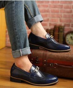 Men's #blue leather #DressShoe slip on style buckle decoration on vamp, sewing thread, Round toe design, casual, office occasions.
