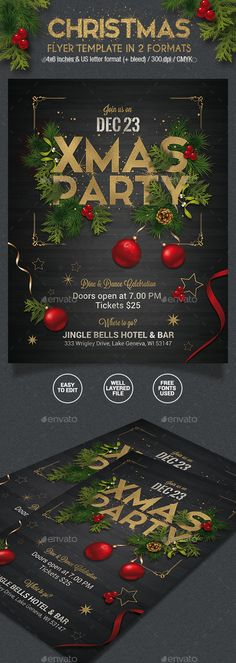 Christmas Party Flyer  2 Formats  — PSD Template #black • Download ➝ https://graphicriver.net/item/christmas-party-flyer-2-formats/18533401?ref=pxcr