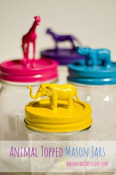 """Animal Topped Mason Jars - 18 DIY Ideas You""""ll Love (Substitute a plastic jar for kids)"""