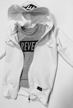 Slovak brand - M-I-N-I-M-A-L Fashion S/S 2019 White Hooded Sweatshirt, Hooded Sweatshirts, Motorcycle Jacket, Hoods, Kids Fashion, Jackets, Down Jackets, Cowls, Food