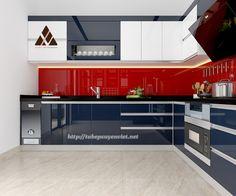 Tủ bếp đẹp có tủ rượu cho căn biệt thự nhà chị Thủy - Vimhomes Quảng Ninh