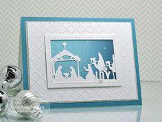25 Dec 2016 : Joyful Creations with Kim: Joy to the World : Taylored Expressions Nativity Border, Dotted Lattice Embossing folder