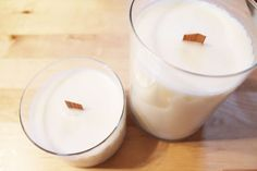 Have used candle containers too pretty to throw out? Make your own lightly scented candles with coconut oil.