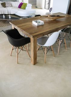 Cemcrete Colour Hardener cement-based floor finish by the Cemtech team Dining Room, Dining Table, Shed Homes, Floor Finishes, Floor Design, Concrete Floors, Kitchen Flooring, Cement, Kitchen Design
