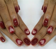 feminine nail design with red sweet heart