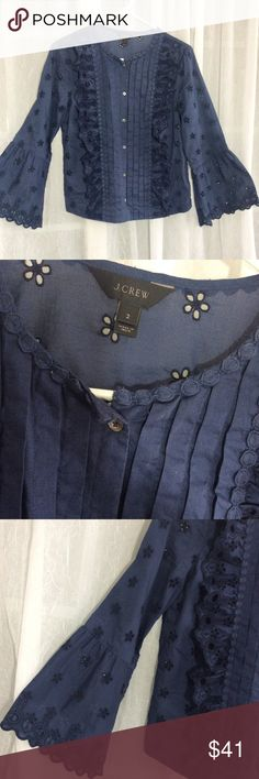 J. Crew navy blue eyelet blouse, EUC So fresh and pretty! 100% cotton eyelet lace blouse. Worn maybe 3 times. Beautiful details. J. Crew Tops Blouses