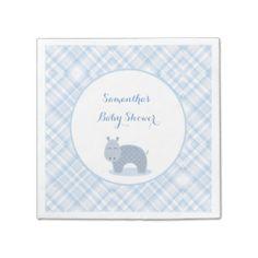 Blue Hippo, Plaid, Baby Shower Paper Napkins