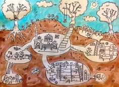 Above and Below. This is my demo for the class. I ask the kids to build an imaginary underground home for a little animal or insect. I was inspired by Jill Barklem's Brambley Hedge books. A class favourite!