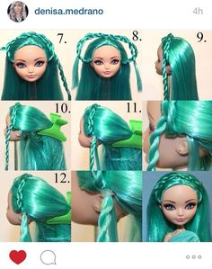 Hairstyle tutorial by Denisa Medrano. Part 2 Doll Wigs, Bratz Doll, Ooak Dolls, Barbie Dolls, Custom Monster High Dolls, Monster Dolls, Custom Dolls, Barbie Doll Hairstyles, Vintage Barbie