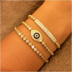 Sterling Silver Evil Eye Tennis Bracelet & Other Tennis Bracelets - V & V Jewels