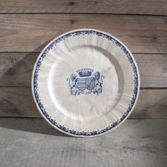 Antique 1870s French Large Heraldic GIEN Plate Faience by MaisonW
