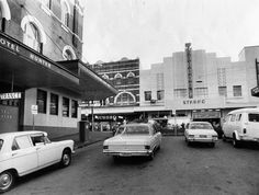 Looking toward the The Strand Movie Theatre along Market St. Newcastle Town, Melbourne, Sydney, My Town, City Buildings, Historical Photos, Postcards, Trains, Vietnam