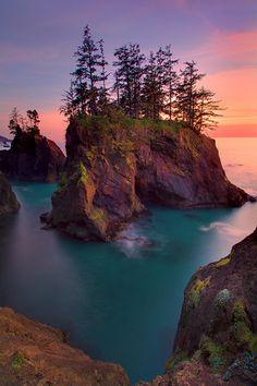 Sunset Over The Haystack Rocks Of Samuel Boardman - Samuel Boardman State Park, Oregon Coast, Oregon