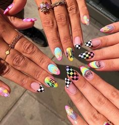 Beautiful Summer Nail Art Designs In 2019 - Nail Art Connect In the summer, want to change the new nail color? Manicure trends change every season, but the pursuit of color has Funky Nails, Trendy Nails, Acrylic Nail Designs, Nail Art Designs, Nails Design, Checkered Nails, Fire Nails, Grunge Nails, Nail Swag