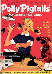 Editor-Polly-Pigtails-at-work-Photo-of-Magazine-cover-1953-dachsund-Finnegan