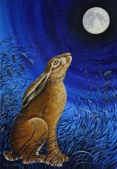 The myth of the Moon Gazing Hare reflects ancient beliefs. Pagans believed that seeing a moon gazing hare would bring growth, re-birth, abundance, new-beginnings and good fortune. The hare is known to be sacred to the goddess Eostre. Rabbit Art, Bunny Rabbit, Bunny Art, Wow Art, Totems, Book Of Shadows, Gods And Goddesses, Banksy, Stars And Moon