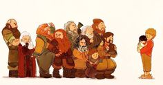The Dwarves of Erebor have come to see little Frodo. Bofur looks so pumped, this is so cute.
