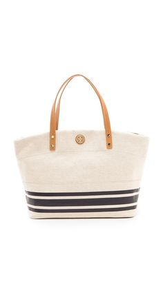 The perfect trip to the beach deserve the perfect tote bag! Tory Burch Theresa EW Tote
