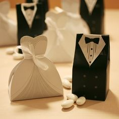 40 NIP Wedding Dress Tuxedo Favor Boxes Bride Bridal Shower Ships fast from USA