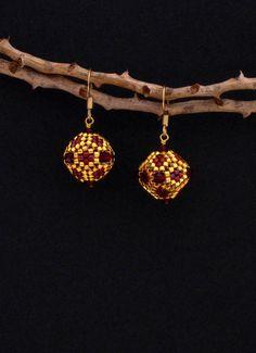 Perline orecchini, oro, Dark Red e granato, cristallo ceco
