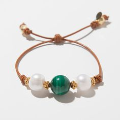 14mm AAA Malachite 14mm AAA Freshwater Pearls Vermeil Bali Beads Adjustable 2.0mm Tan Leather
