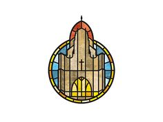 New logo for a historic Presbyterian church in Omaha. The interior is ornate with multiple stained glass windows and the architecture is very distinct as well. Thus the stylized building rendered i...