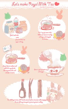 //just a widdle break uwuuu// I started watching Dangan Ronpa and had a craving to try Royal Milk Tea again (because of beauty queens Sakura and Celest&. Let's make Royal Milk Tea Yummy Drinks, Yummy Food, Royal Milk Tea, Recipe Drawing, Cafe Food, Kitchen Witch, Aesthetic Food, Food Illustrations, Drinking Tea