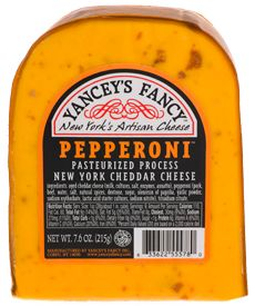 Pepperoni Cheddar- A creamy, sharp combo of aged cheddar and bits of pepperoni, bursting with flavor.