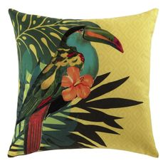 Yellow Cushion with Tropical Print 45 x 45 Toucan White Cushion Covers, Couch Cushion Covers, Jungle Decorations, Jungle Theme Nursery, Yellow Cushions, Tropical Decor, Style Tropical, Tropical Interior, Tropical Prints