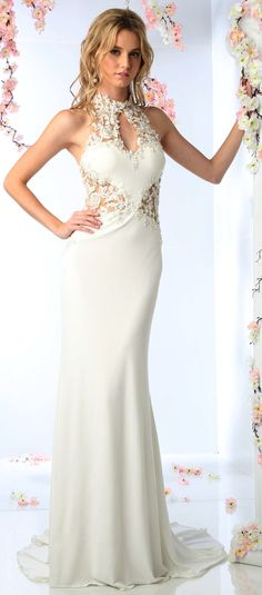 White Dresses Evening Dresses<BR>add8927<BR>Floral Applique High Neck Bridal Gown