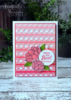 Handmade card by Connie Collins created with the Stampin' Up! Lily Pad Dies from Sale-a-bration 2020 Stamping Up Cards, Rubber Stamping, Global Design, Flower Backgrounds, Diy Cards, Craft Cards, Flower Cards, Lily Pad, Cardmaking