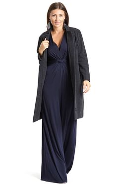 Palazzo Navy Jumpsuit | Navy Blue V-Neck Jumpsuit with Long Sleeves. Palazzo Navy Jumpsuit is your go-to easy-to-wear cocktail party to dinner saviour. Bringing back some playful 30s glamour, this is a truly comfortable style that you'll love to wear. The combination of colour, long sleeves and draping details elongate the figure and slim the silhouette to suit all curvy and big busty figures. With the look and feel of a maxi-dress, you've got elegance contained in a striking look.