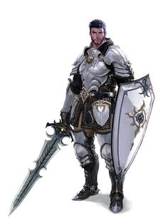 m Paladin Plate Shield Sword midlvl Male Human Armored Sword and Shield Fighter Knight - Pathfinder PFRPG DND D&D fantasy Fantasy Warrior, Fantasy Male, Fantasy Rpg, Medieval Fantasy, Fantasy Artwork, Fantasy Weapons, Warrior High, Fantasy Character Design, Character Design Inspiration