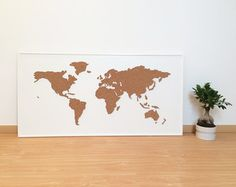 Cork Board World Map White by OneFancyChimney on Etsy Cork World Map, Travel Maps, Packing Tips For Travel, Travel Alone, Custom Framing, Decoration, Etsy, Travel Photography, Things To Come