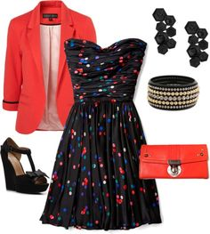 Super fun for a evening out... Coral 3/4 sleeve blazer, black satin dress with multi-color dots, black gem rhinestone earrings, coral clutch, black chunky bracelet, black t-strap wedge with bow