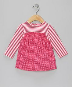 Take a look at this Barely Pink Stripe Babydoll Top - Infant by Chapô Pointû on #zulily today!